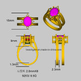Anel especial da aleta do rubi/safira do chapeamento de ouro do projeto 14k (R1393)