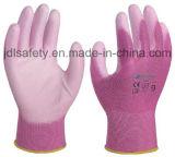 Le gant en nylon bleu de travail avec la paume d'unité centrale a enduit (PN8004B)