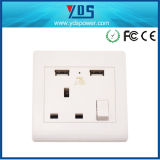 3 Pinイギリス電気Socket、WallイギリスのElectric USB Socket Outlet