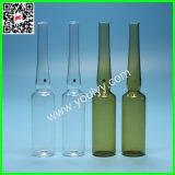 Ampolla de cristal médica clara y ambarina