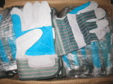 Перчатки Спилковые Комбинированные Пятипалые Рабочие Перчатки (DLC326)
