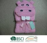 Flusspferd-mit Kapuze Tuch 100% und Handschuh der Baumwolle3d mit Stickerei