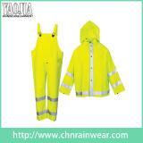 Chaqueta amarilla verde de la capa del juego de la lluvia de la seguridad de la motocicleta de Yj-6047 Packable