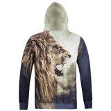 Hommes Mode 100% Polyester Hoodies imprimés 3D Lion (HD-1014)