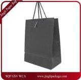 Papel negro mate laminado Euro Bolsa de regalo, bolsa de papel de impresión de la insignia de compras, Color plegable personalizada bolsa de papel.