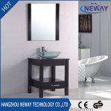 Gabinete simples da vaidade do banheiro do estilo americano de vidro do hotel da bacia