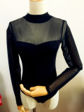 Lady Fashion Clothing Sexy Mesh Long Sleeve Evening Bodysuit Underwear