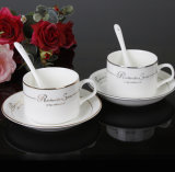 Nuovo insieme di ceramica della tazza di caffè di Cina di osso di vendita calda, tazza di ceramica e piatto