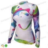 Swimwear firmemente cabido longo de Lycra da proteção de Upf 50+ da luva das mulheres