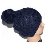 Sombrero hecho punto gorrita tejida caliente al por mayor del invierno POM POM del ganchillo de la marina