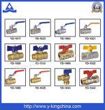 Válvula de gas de cobre amarillo de la bola Pn20 para el sistema de gas del control (YD-1035)