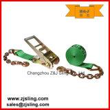 """사슬 늘림 3 """" X 27 ' 녹색에로 채찍질하는 래치드 결박 또는 화물"""