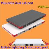 Relámpago incorporado y batería portable ultrafina micro de la potencia del cable 10000mAh de la carga del USB