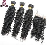 Onde profonde de cheveu brésilien de Vierge d'extensions de cheveux humains de 100%