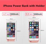 Klipp-Energien-Bank-dünner Batterie-Kasten Zwei-USB-10000mAh rückseitige mit Halter für iPhone 6p/6sp/7p
