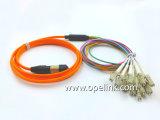 Cabo interno de uma comunicação do cabo de correção de programa da fibra óptica de PVC/LSZH MTP/MPO-LC Om3