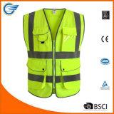 A veste reflexiva da segurança da visibilidade elevada amarela encontra padrões de ANSI/Isea