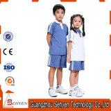 Una camicia di polo primaria blu all'ingrosso dell'uniforme scolastico di cotone 100%