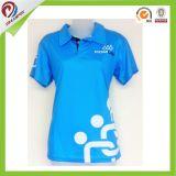 Poliéster curto Sublimated da camisa do golfe das luvas de Qulaity das mulheres costume elevado