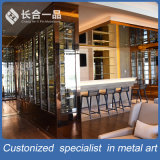 Customized Stainless Steel Hairline Rose Gold Wine Cellar para clube / hotel
