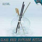 botella de lámina de cristal del difusor del corcho del claro de la esfera 425ml del tapón del petróleo vacío del aroma