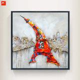 Het Olieverfschilderij van het Beeld van de Muur van de Stijl van het Beeldverhaal van de Toren van Eiffel van het Decor van het huis