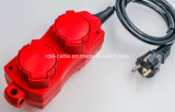 Cavo di estensione impermeabile europeo IP44 con colore rosso di GS N-F dell'otturatore della molla