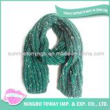 Écharpe acrylique de tissage de coton de polyester de l'hiver personnalisée par vente en gros