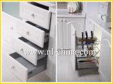 Cabina de cocina blanca del MDF de la membrana del PVC de la obra clásica