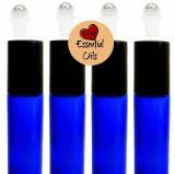 8ml et 10ml ont givré le roulis en verre bleu sur la bouteille pour l'huile essentielle avec le chapeau noir