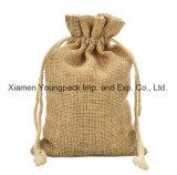 Petits sacs à Hession de jute estampés par coutume promotionnelle en gros de sac de toile de jute de cordon