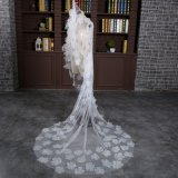 Brandnew длина собора вуаль цвета слоновой кости венчания в 3 метра с флористическим