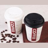 Tazas de café de consumición de la venta del diseño de papel de encargo caliente de la insignia con las tapas