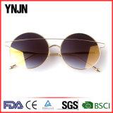 Солнечные очки металла золота способа Ynjn круглые большие