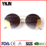 Ynjnの円形の大きい方法金の金属のサングラス