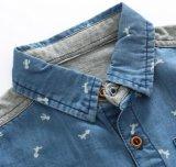 De Jonge geitjes die van Homewear van de Zomer van de manier Overhemd van de Jongen van het Denim het Blauwe kleden