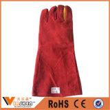 Red Cow Split Soft Textile Leather Gants de sécurité à long bras de sécurité entièrement doublés