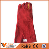 Red Cow Split Soft Textile Leather Long Welding Safety Gloves Fully Lined