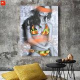 Mujer atractiva caliente en pintura al óleo del arte de la pared del extracto del bikiní