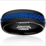 Anello di barretta blu del carburo di tungsteno della fibra del carbonio dei monili di alta qualità