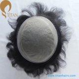 Toupee dianteiro do cabelo humano do Scallop mono para homens