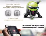No. 1 el ritmo cardíaco elegante del podómetro de la ROM del RAM 8GB del androide 5.1 Mtk6580 1GB del reloj de D5+ accionó por el teléfono 1 D5 de Mediatek Smartwatch más negro elegante del teléfono