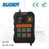 Cargador de batería automático rápido elegante inteligente del cargador 6V 12V de Suoer con el modo de carga trifásico (A01-0612A)