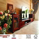 Высеканная стойка TV блока зрелищности двери твердая трудная деревянная французская (GSP15-016)