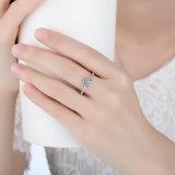 Anel de dedo de flor radiante de forma redonda de prata