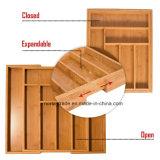 Rectángulo de bambú natural del 100% para el organizador del cajón de la cocina ensanchable y el organizador del utensilio