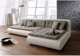 Sofa de cuir véritable de forme d'U pour la salle de séjour (SF069)