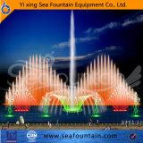 Переменчивый взаимодействующий фонтан нот с киноим экрана воды