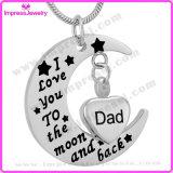 """Ijd9737 """"私は月および背部""""月のに灰の記念品のお父さんの記念の魅力の個人的な火葬のペンダントのネックレス愛する"""