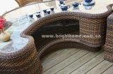 Mobilia di vimini esterna del giardino della Tabella di tè